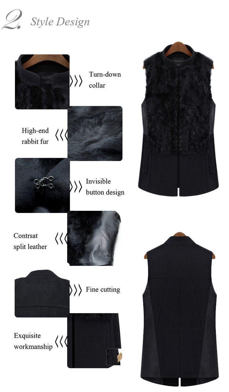 Aliexpress.com : Buy Great Nice Spring Luxury Unique Cool Vintage Ladies Contrast Split Fur Slim Fit Black Wool Vest Coat in 2014 from Reliable fur collar wool coat suppliers on Silverwings | Alibaba Group