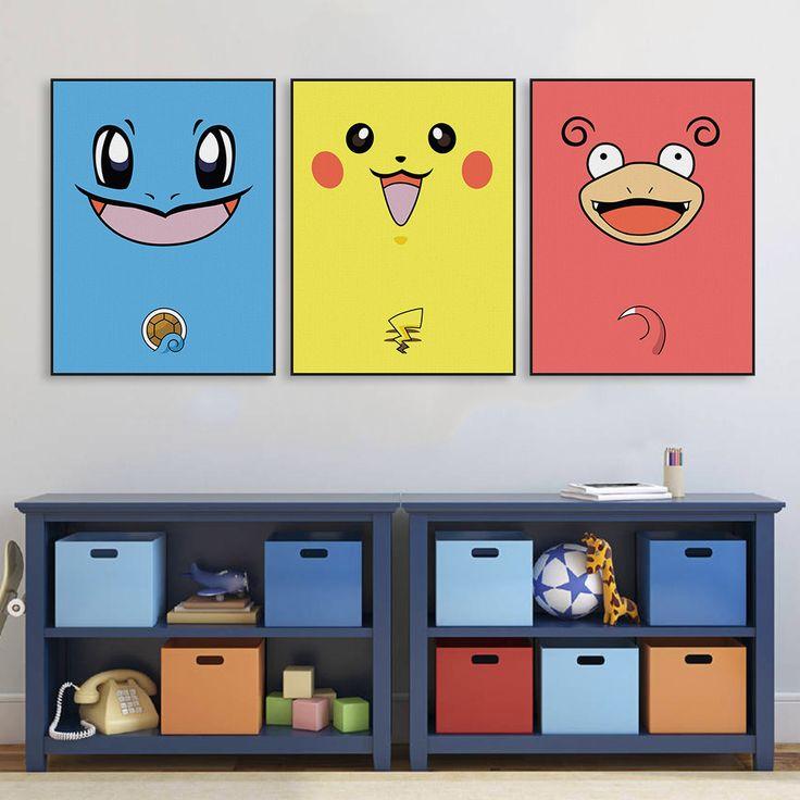 Pas cher Moderne Pop Japonais Anime Jeu Kawaii Pokemon Impression Sur Toile A4 affiche Pépinière Mur…