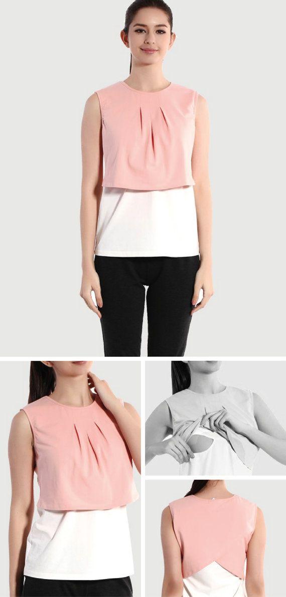 SOFT PINK / WHITE Layer Nursing Top Pink Nursing Shirt by BESLOV