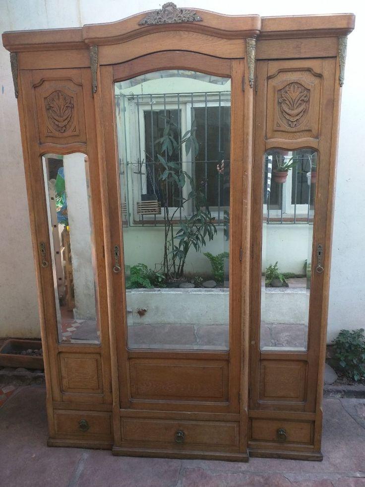 Ropero antiguo roble lavado tres puertas espejos vieslados en mercadolibre - Ropero antiguo ...