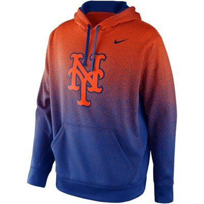 Nike New York Mets Mezzo Fade Performance Hoodie - Orange/Royal Blue