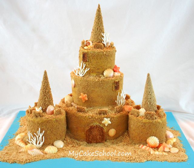 Sandcastle Cake...Melissa, from MyCakeSchool.com has such a talent for making what appears to be a very difficult task so very easy!
