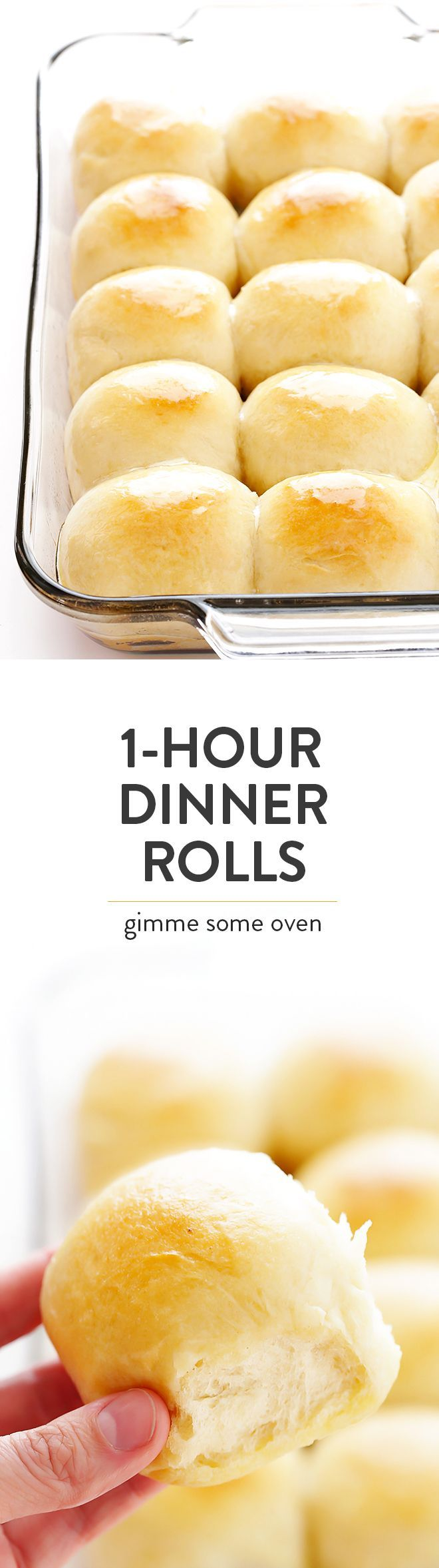 This 1-Hour Dinner Rolls recipe is the BEST! It's super-easy to make, and those soft and buttery rolls are irresistibly delicious!   http://gimmesomeoven.com