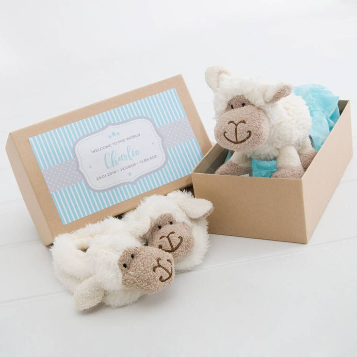 A fantastic personalised gift for a new-born baby or for a baby shower. It includes a super cute soft little lamb and matching slippers.The gift box comes with either a blue, green or pink personalised label that can include the baby's name and other birth details. Alternatively you can include a message if the birth details are not known. The box would make a sweet little keepsake box for those all important items like the hospital band, first curl and first tooth.Presented in a lovely b...