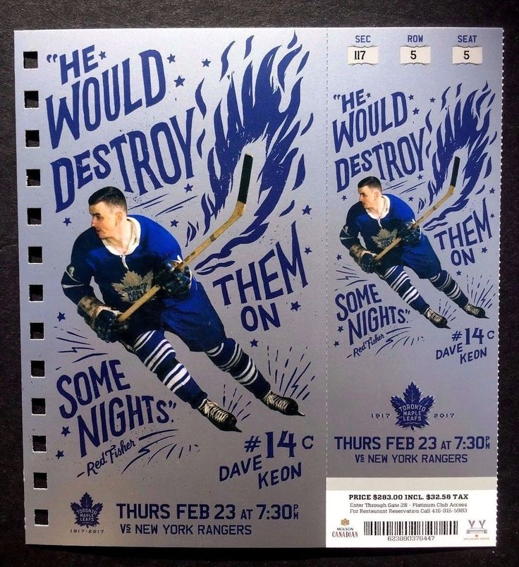 2016-17 Toronto Maple Leafs vs New York Rangers David Keon Featured Ticket | eBay