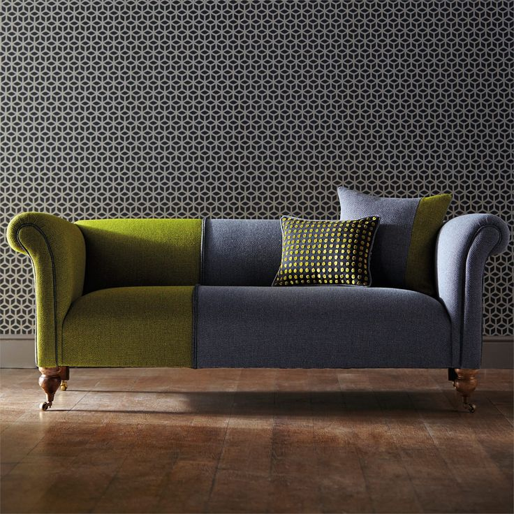 Best of Harlequin Designer Fabrics and Wallcoverings Products British UK Fabrics and Wallpapers Review - Modern Green Chesterfield sofa New