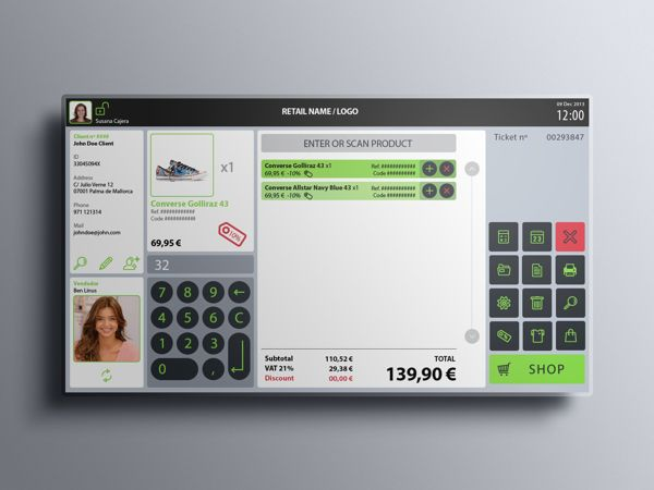 Retail Point Of Sale UI by walrus ., via Behance