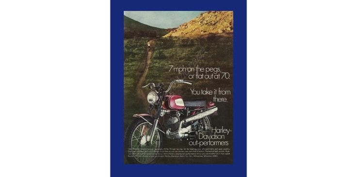 """Harley-Davidson 125cc Rapido Motorcycle Original 1970 Vintage Color Print Ad """"7 MPH On The Pegs, Or Flat Out At 70. You Take It From There"""" by VintageAdOrama on Etsy"""