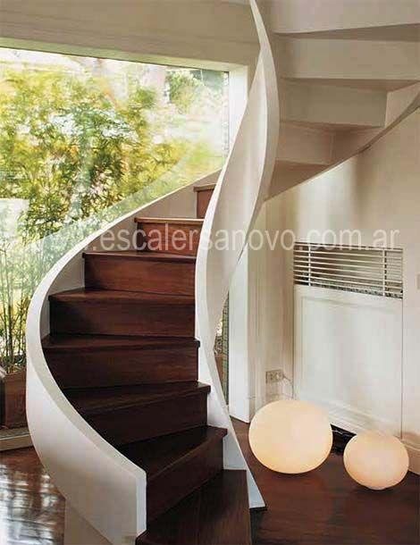 La escalera en el nuevo diseño podria ser asi.  http://www.novo-design.com.ar/ver/161/escalera-caracol-nº-29.htm