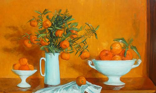 Margaret Olley, Still life with mandarins, c.1975, oil on board, 76 x 122 cm, Private collection