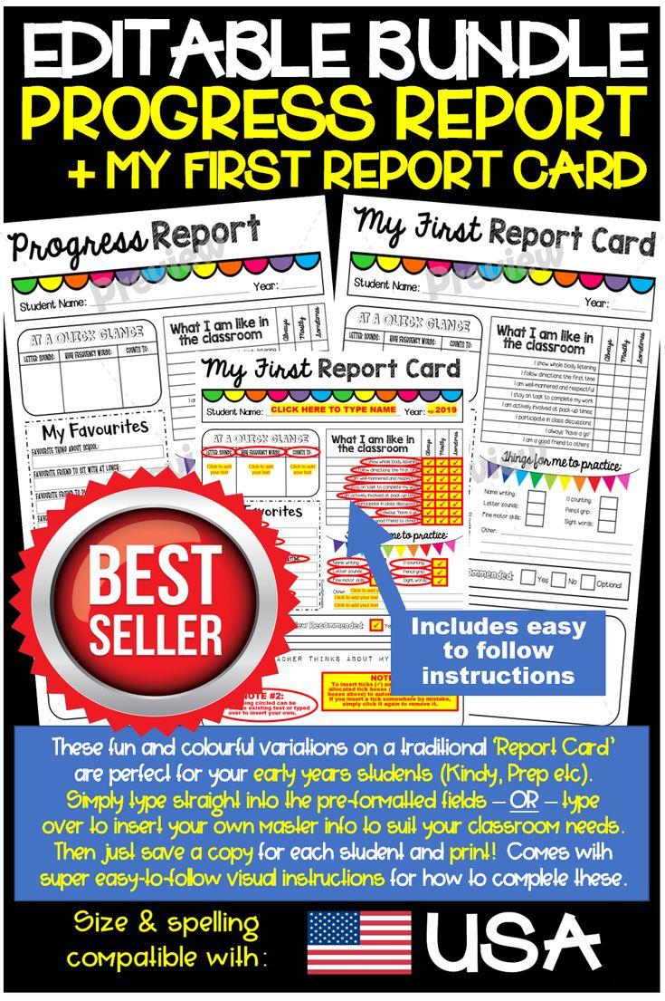 Editable fun report cardprogress report my first report