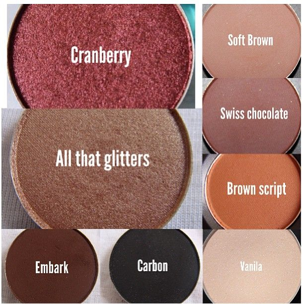 Must have MAC shadows  that will be great for your Fall looks  Cranberry and All That Glitters will be perfect lid colors! To intensify your looks you can use Embark and carbon on your crease or outer corners of your lid. Soft brown, Swiss chocolate, and brown script makes perfect transition colors! Vanilla is the perfect highlight for your brow bone and can also be use on your lid for a more natural look.