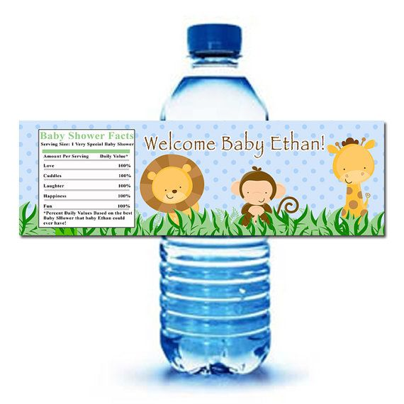 Printable Personalized Jungle Safari Zoo Water Bottle Labels Wrappers - Birthday Party Baby Shower Blue Boy Custom Wraps via Etsy