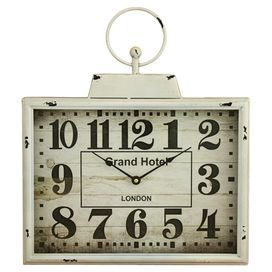 "Bring vintaged appeal to your entryway or kitchen with this metal wall clock, showcasing a distressed white finish and rectangular silhouette.  Product: Wall clockConstruction Material: Metal Color: Distressed whiteFeatures: Rectangular silhouetteAccommodates: (1) AA Battery – not includedDimensions: 18"" H x 16"" W x 2.5"" D"