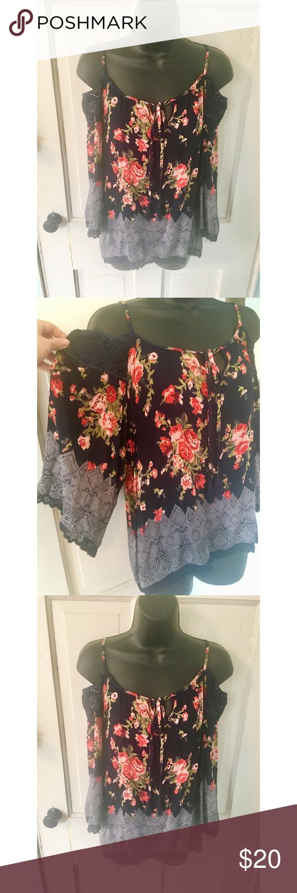 ANGIE navy blue mixed floral festival blouse ANGIE navy blue mixed floral and print off the shoulder blouse with crochette detailing. Great for everyday spring wear or a festival! Angie Tops
