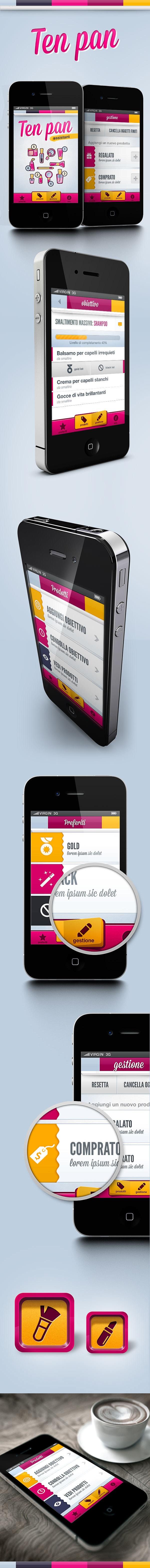 Ten Pan App - Mobile ui for Ten Pan Project by Gaia Zuccaro, via Behance