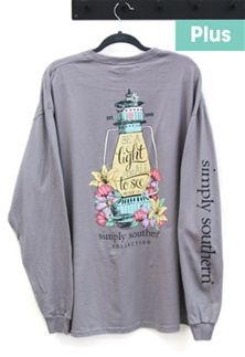 a783cdb9061ca Simply Southern Preppy Collection Plus Size Light Long Sleeve T-shirt for  Women in Steel EXT-LS-LIGHT-STEEL