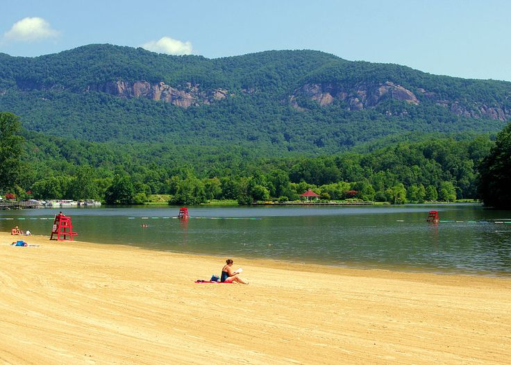 Lake Lure beach in the North Carolina mountains near Asheville