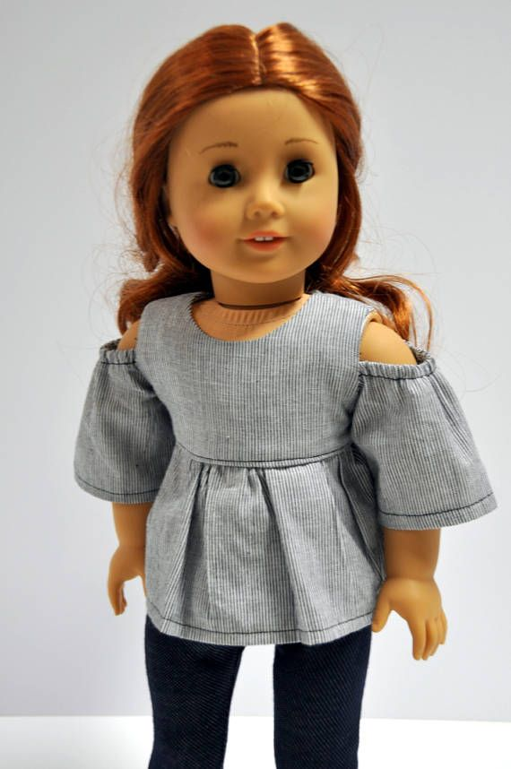 18 Inch Doll Clothes Navy Blue and White Chambray Open Cold