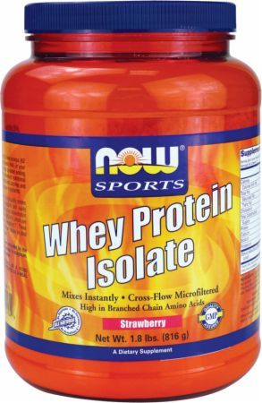 NOW Whey Protein Isolate Strawberry 1.8 Lbs. NOW146 Strawberry - Cross Flow Filtered Whey High In Branch Chain Amino Acids!