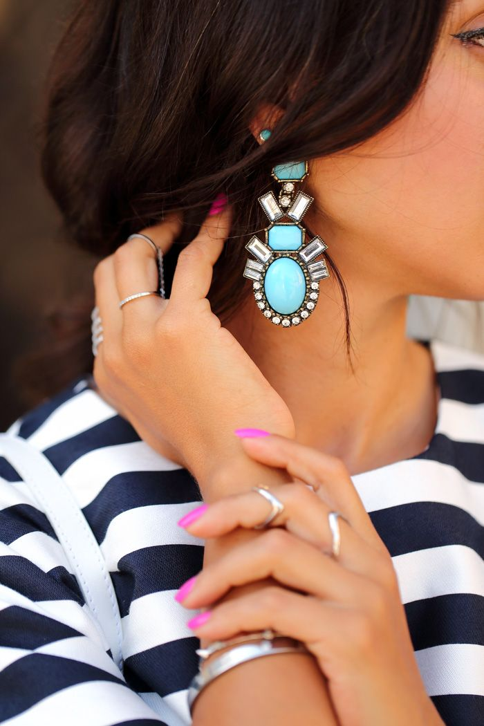 white and turquoise drop earrings