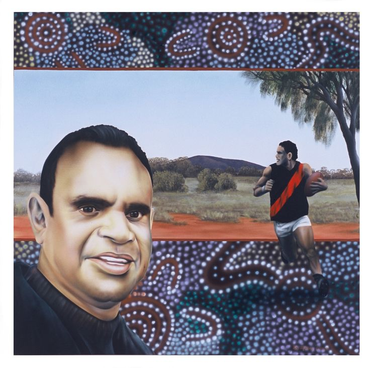 Portrait of Michael Long -AFL Legend Acrylic on Belgian Linen The landscape in the background is where his Grandmother was stolen from her 'counrty' as a child. Part of white Australia's shameful past. This racist government policy which involved the forced removal of Half-caste Aboriginal children is referred to as the 'stolen generation'.