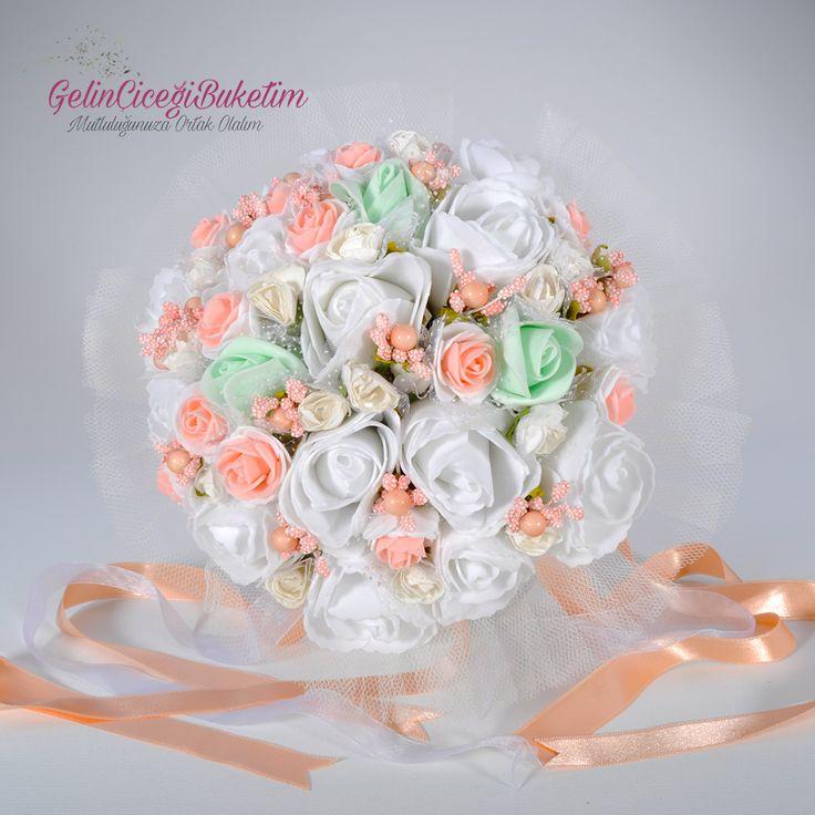 Su Yeşili Beyaz Pembe Güller Gelin Çiçeği Gelin Tacı Damat Yaka Çiçeği (3'lü Set)