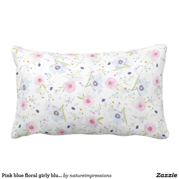 Pink blue floral girly blush summer