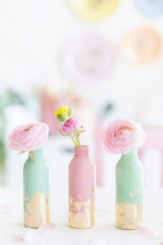 DIY: Mini Vasen mit Blattgold | Selbermachen, Gold diy und
