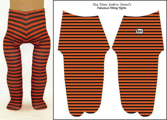 18 inch Doll Tights - Orange and Black Stripe Doll Tights - Easy to Sew -  Best Fit Ever-  4 Way Stretch Fabric - For American Girl Dolls