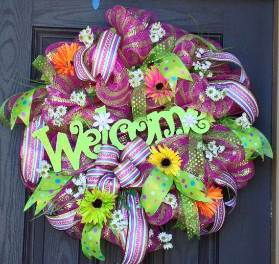 spring mesh wreaths | Welcome Spring Deco Mesh Wreath by MNYDesigns ... | Crafts by Sisters ...