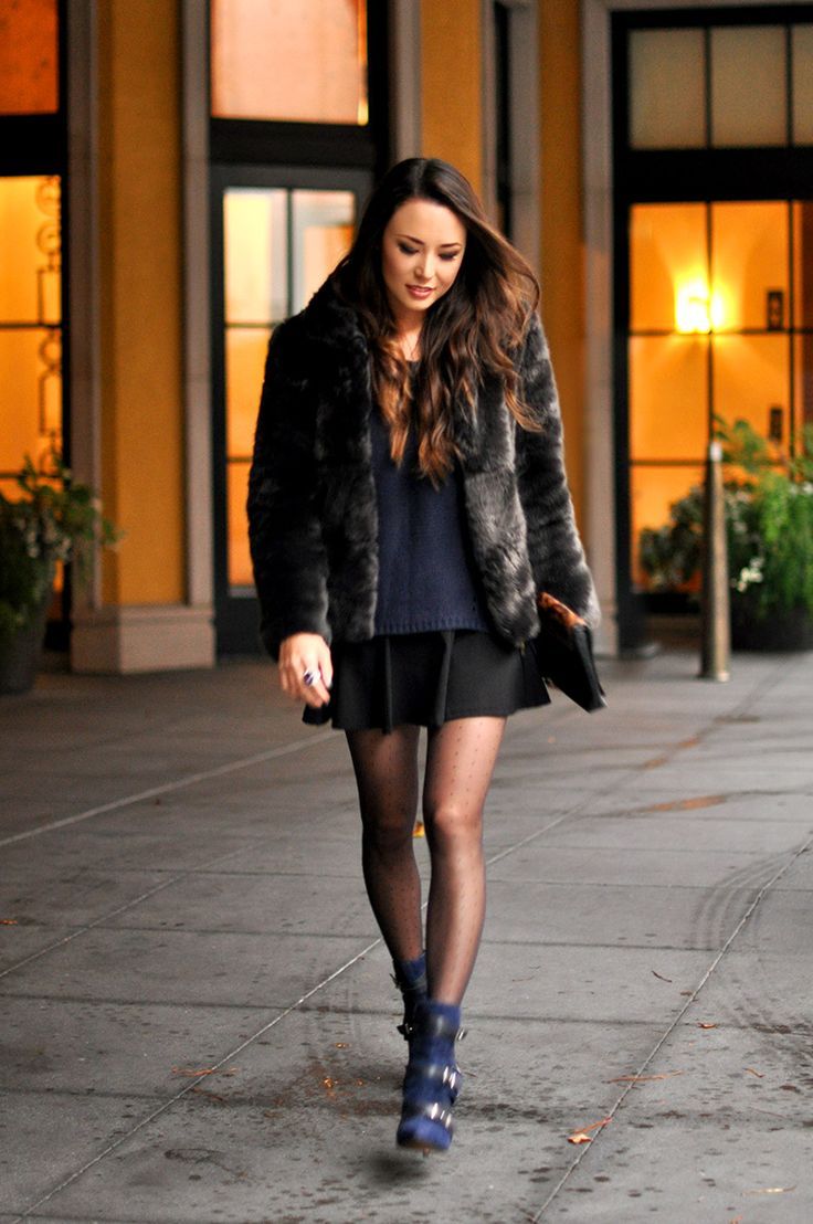 Zara Faux Fur Coat, Sheinside Sweater in Red, Similar Skirt, HUE Polka Dot Tights, GUESS Parley Booties, Similar Leopard Clutch, Michele Watch