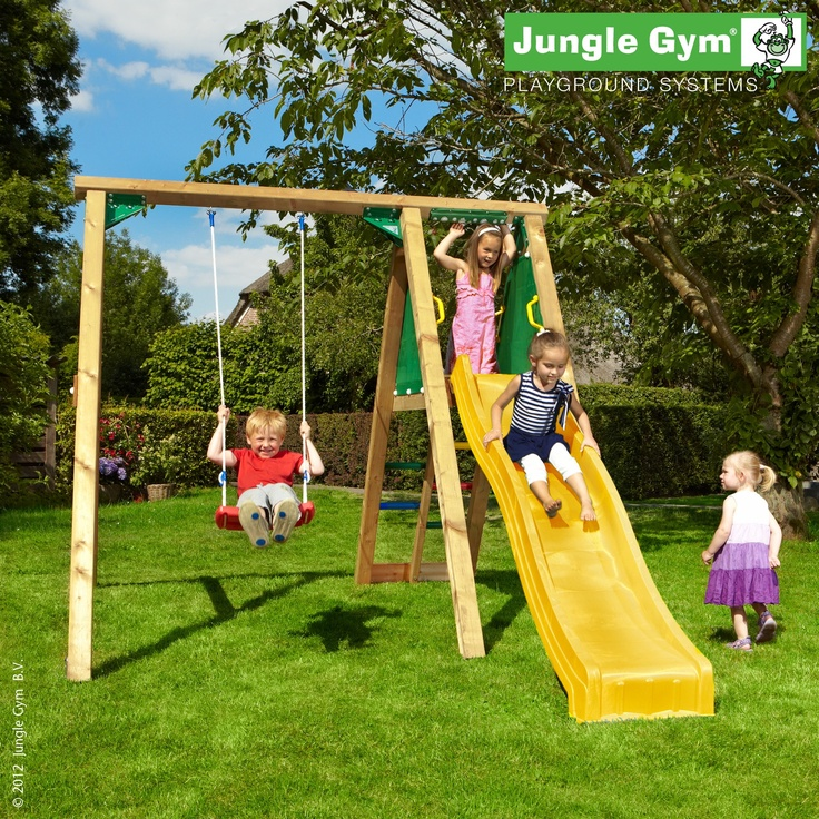 A swing set providing an excellent panoramic view, with a ladder and slide combination for peak playtime fun.