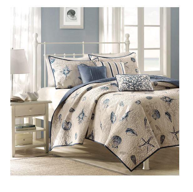 Beach Decor For Bedroom Theme Coverlet Bedding Set Coastal Sea Shells  Starfish