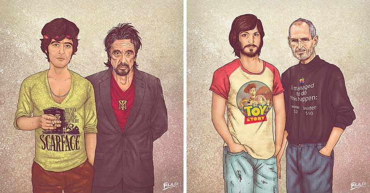 Take A Step Back In Time! Illustrator Fulaleo Obremor has created the project Me and My Other Me, which features male icons with their younger selves. View other illustrators @ www.booZhee.com #art #popculture #celebrities #boozhee #artist #people #shopping #style