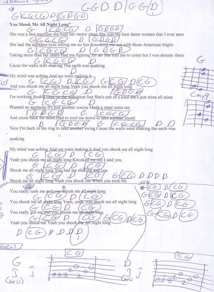 You Shook Me All Night Long (AC/DC) Guitar Chord Chart | Guitar ...