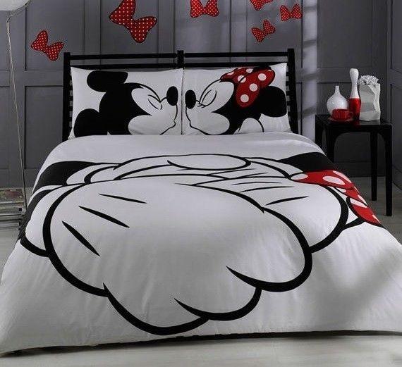 disney mickey mouse king size double duvet set cover pillowcase blanket bedroom unbranded