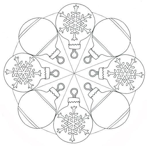 Precioso este mandala para colorear con bolas de Navidad