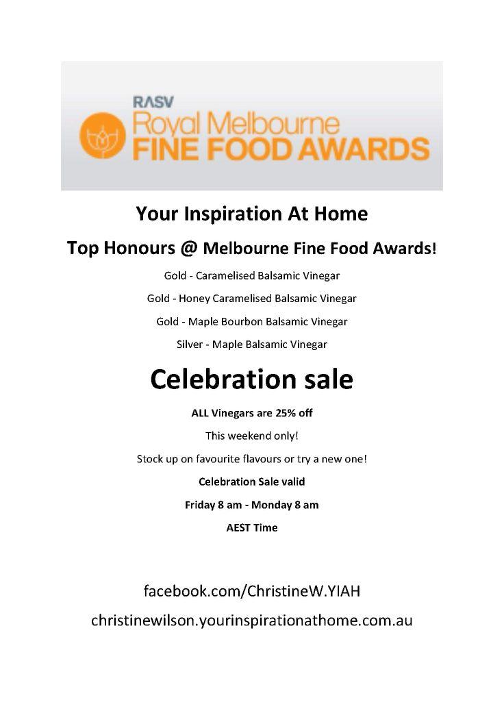 Award winning YIAH vinegars 25% off till midnight Sunday 20th July. To order follow link christinewilson.yourinspirationathome.com.au  facebook.com/ChristineW.YIAH