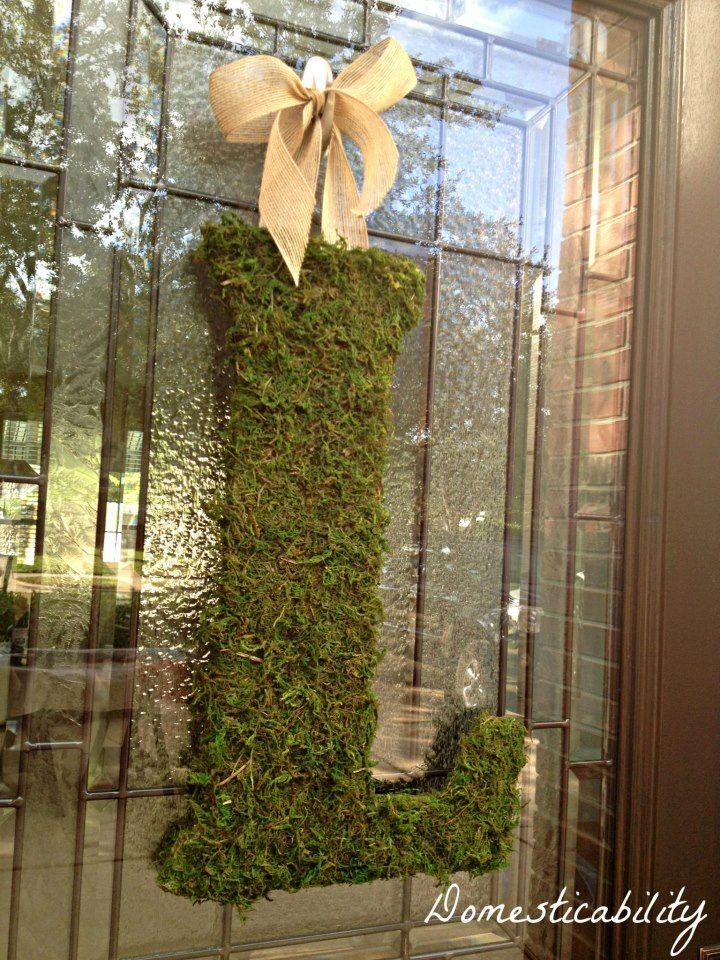 Monogram Letter Wreath - wooden letter, Elmer's spray glue, yard of burlap ribbon, and sheet of green moss.