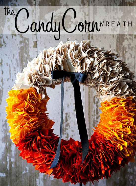 DIY Candy Corn Wreath + foam wreath, canvas squares pinned to base.