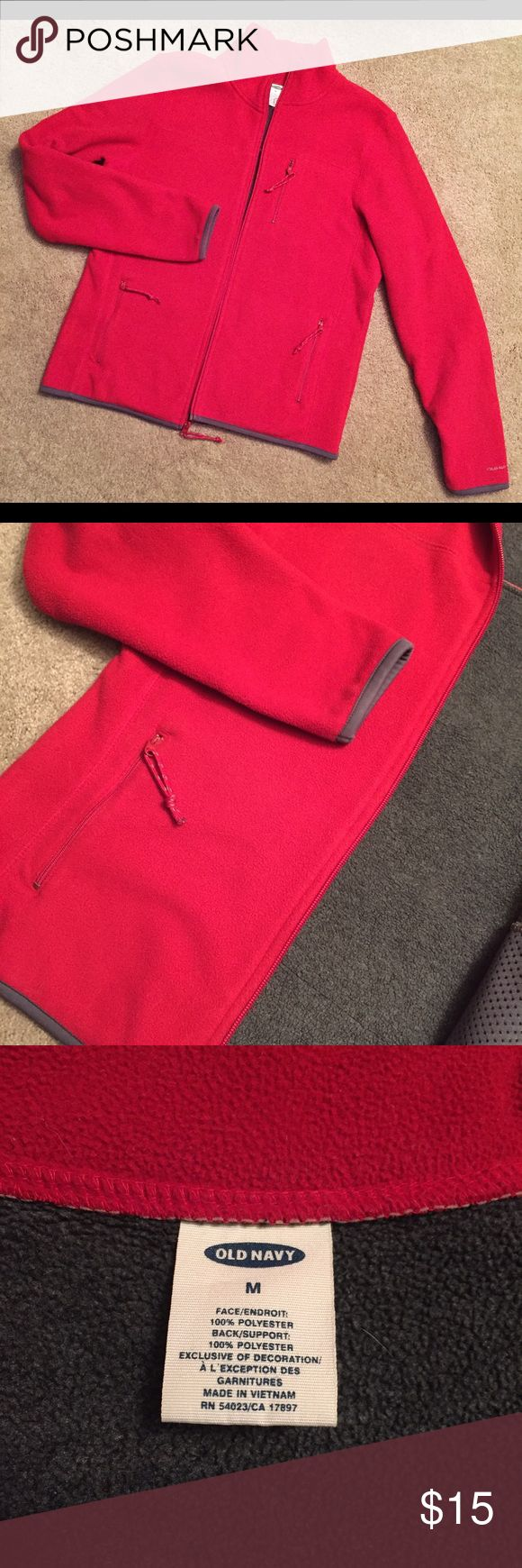[Old Navy] Fleece Zip-Up Old Navy Fleece • Red Fleece with Gray Trim • Purchased in 2002 - much better quality than the fleece jackets Old Navy currently makes. • Thick and warm. • Well-cared for, just not my size anymore. Old Navy Tops Sweatshirts & Hoodies