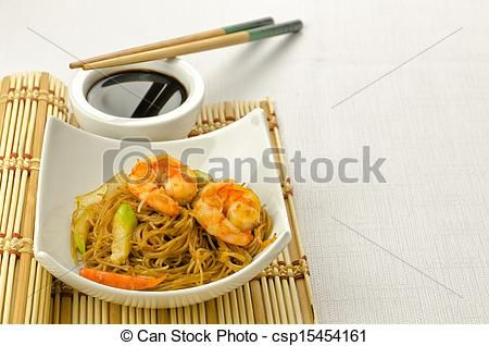 Delicious #Chinese #noodles with #shrimps - csp15454161