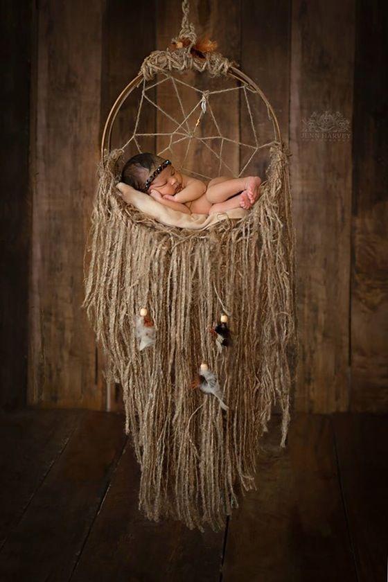 Image of Woodsy Wonders, Rustic, Dream Catcher Hammock Newborn Baby Proph