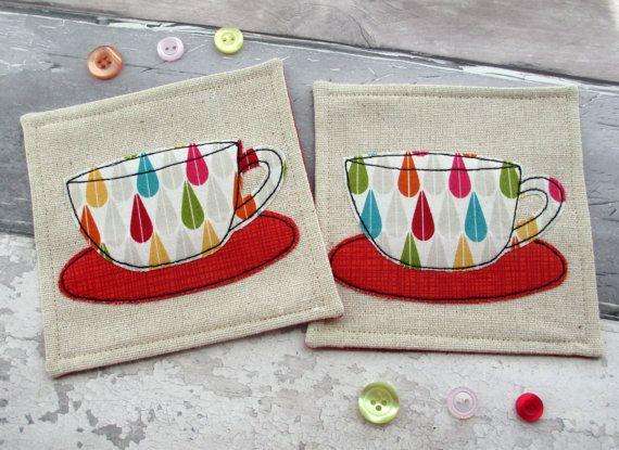 Rainbow Tea Cup Coasters Raindrop Fabric Handmade Coasters