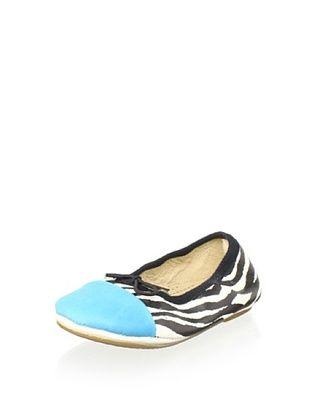 74% OFF Old Soles Kid's Kruger Flat (Zebra/Aqua Leather)