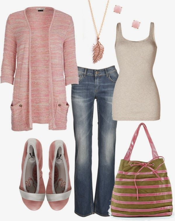 Casual Outfit-for me it would be a dark wash denim skirt or dark wash boot cut jeans. Love the flats and bag.