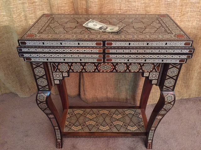 Syrian fold out Game Table All inlaid wood    #Mediterranean