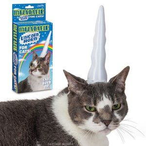 Inflatable Unicorn Horn for Cats, the reviews on Amazon made my day. Soo funny!  Bahahahahahahaha - Atti needs the devil horns though!  Please please please someone get me this for Christmas! :)