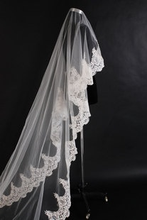 Custom Make Vintage White Ivory Wedding Veil Bridal Veil One Tier Cathedral Floor Length Long Lace Veil Tulle Lace Trim Scalloped Edge. $59.99, via Etsy.
